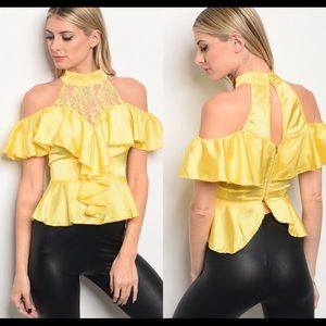 NEW Yellow satin blouse with ruffle sleeves